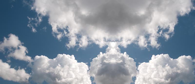 Atmospheric sky art image. White Cumulonimbus cloud in blue sky. Australia.