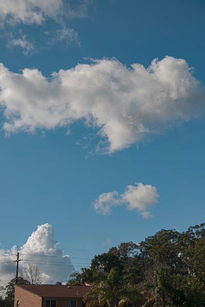 Atmospheric sky art image. White Cumulus cloud in blue sky. Australia.