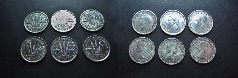 Coins Vintage Silver Australian Threepence.