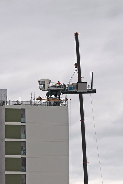 Building series. Removal of the Sky Crane on the new Multistory Unit building under construction at 277 Mann St. Gosford. May 23, 2020.