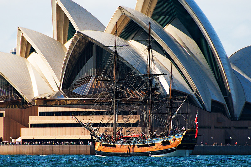 Tall Ship Endeavour and Sydney Opera House.