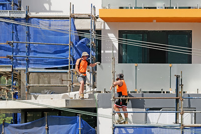 Construction Workers on site at 47 Beane St. Gosford. March, 2019. Building update 205