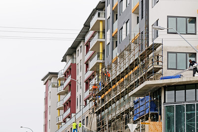 Construction Workers on site at 47 Beane St. Gosford. March, 2019. Building update ed221