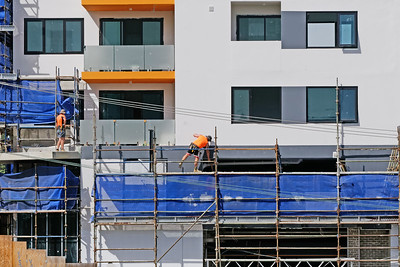 Construction Workers on site at 47 Beane St. Gosford. March, 2019. Building update 206.