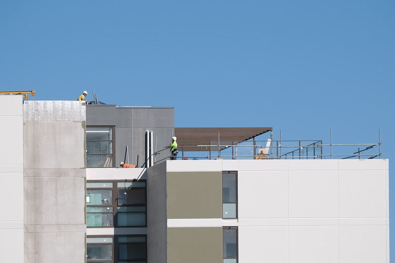 Building series. Top Floor now completed on the new Multistory Unit building under construction at 277 Mann St. Gosford. June 25, 2020.