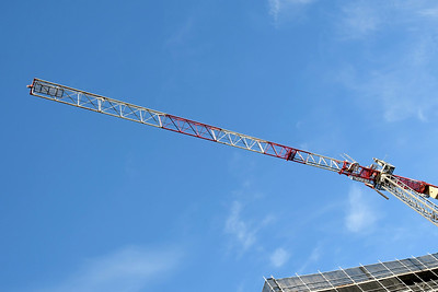 May 2, 2021. Tower crane high above new building site at 56-58 Beane St. Gosford, Australia. Part of a series.
