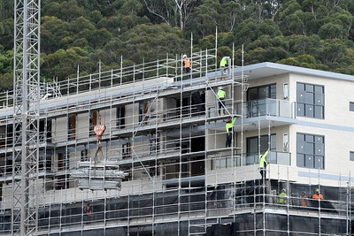 Gosford, NSW, Australia - July 15, 2021: Workmen disassembling s