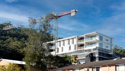 August 15, 2021. Completed Top floors now visable. North West view of 56 beane st. Gosford