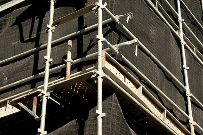 May 2, 2021. Construction progress scaffolding and safety netting closeup on building site at 56-58 Beane St. Gosford, Australia. Part of a series.