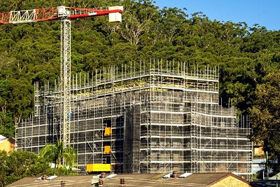 Advanced construction progress update photos on new building site at 56-58 Beane St. Gosford, Australia. April 19, 2021.Part of a series.