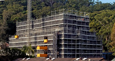 Construction progress on the top floors new building site at 56-58 Beane St. Gosford, Australia. 9:am. April 28, 2021.Part of a series.