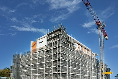 August 15, 2021. Progress update Photos. Completed Top floors now uncovered. North East view of 56 beane st. Gosford