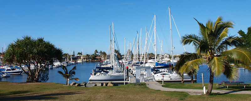 Tropical panoramic marina scene. Mooloolaba.