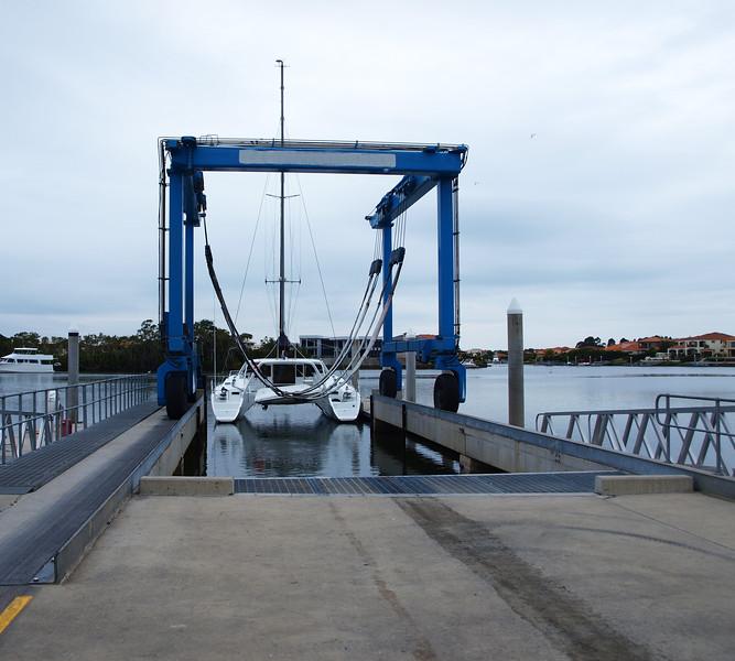 Gold Coast Marine Centre boat travel lift.