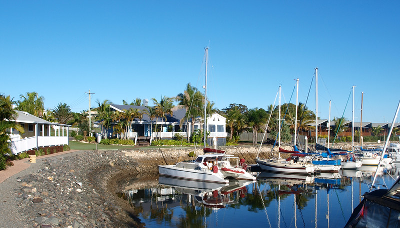 Tropical Marina Landscape View. Tin Can Bay.