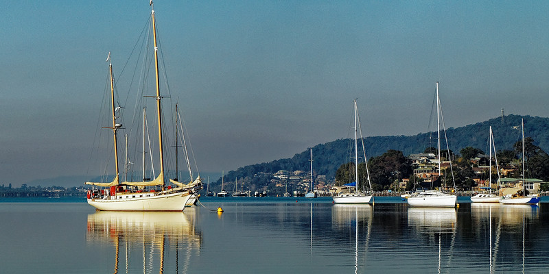 Gosford waterfront Yacht Reflections. Photo art.