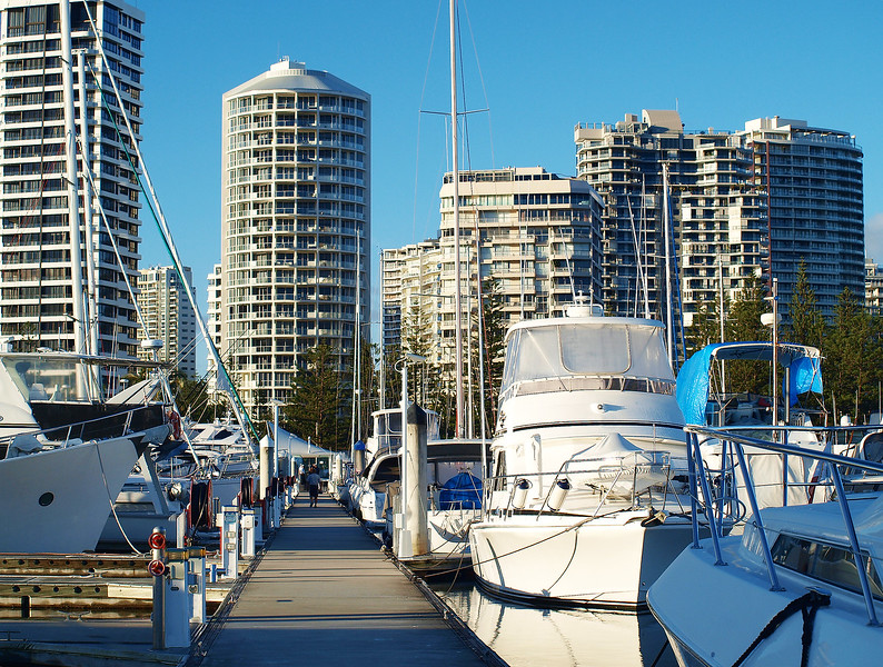 Waterfront maritime marina/dock with boats.