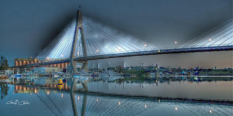 Anzac Bridge by Moonlight 2. Art photo digital download and wallpaper screensaver. DIY Print.