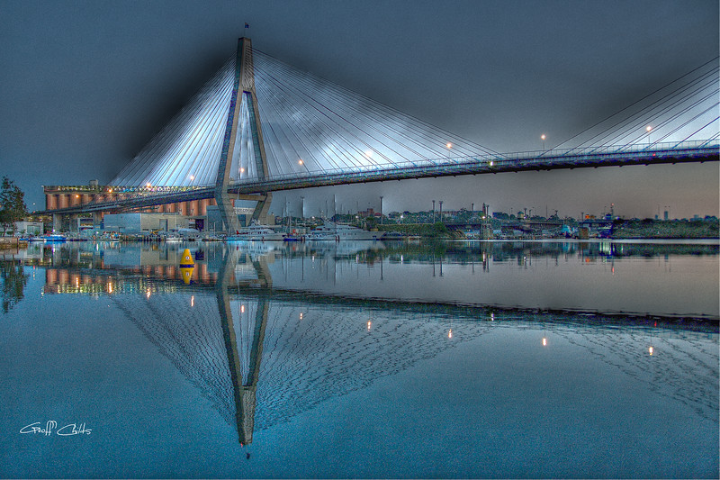 Anzac Bridge by Moonlight. Art photo digital download and wallpaper screensaver. DIY Print.