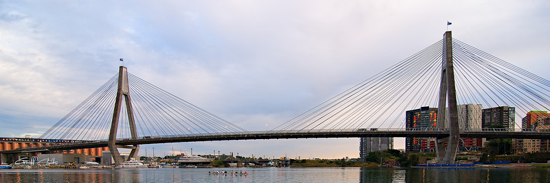 Anzac Bridge with Eights. Art photo digital download and wallpaper screensaver. DIY Print.