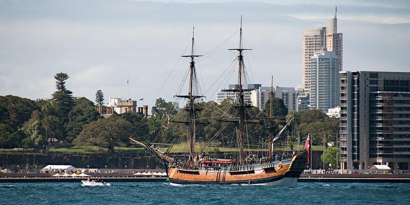 Sydney Harbour with Bark Endeavour.