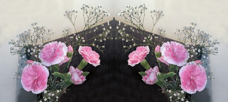Pretty Pink Carnation and white Babies-Breath fresh cut real flower display.