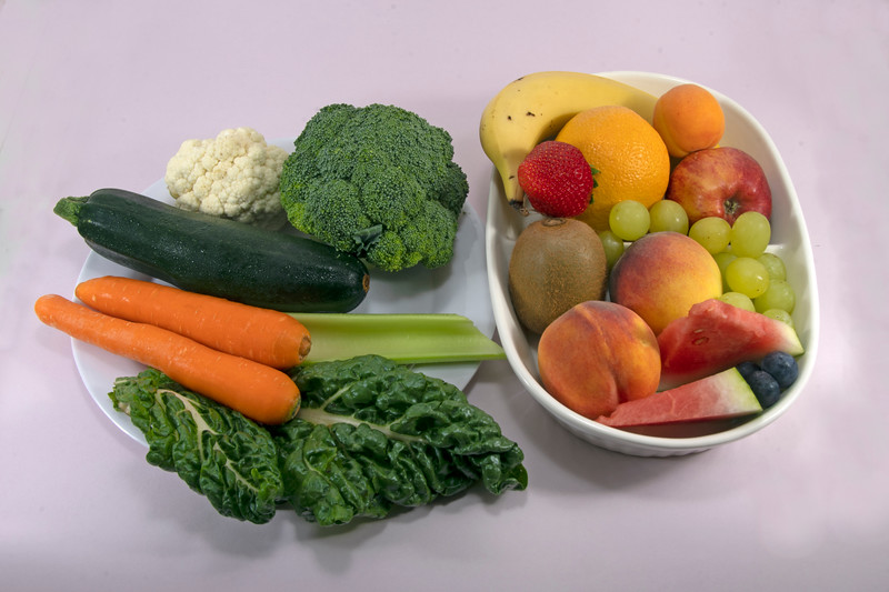 Fresh Fruit and Vegetables isolated.