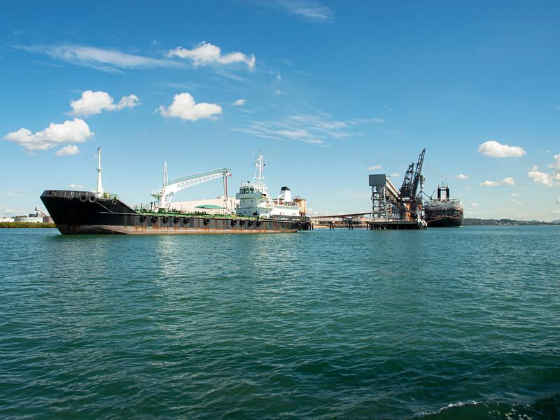 Ships berthed at the coal loader terminal Port Gladstone.