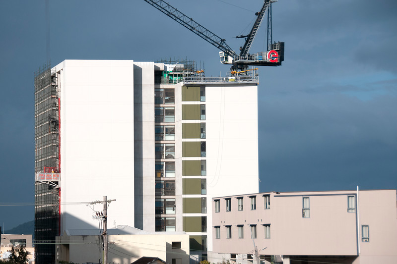 Building series. Progress on the new Multistory Unit building under construction at 277 Mann St. Gosford. May 14, 2020.