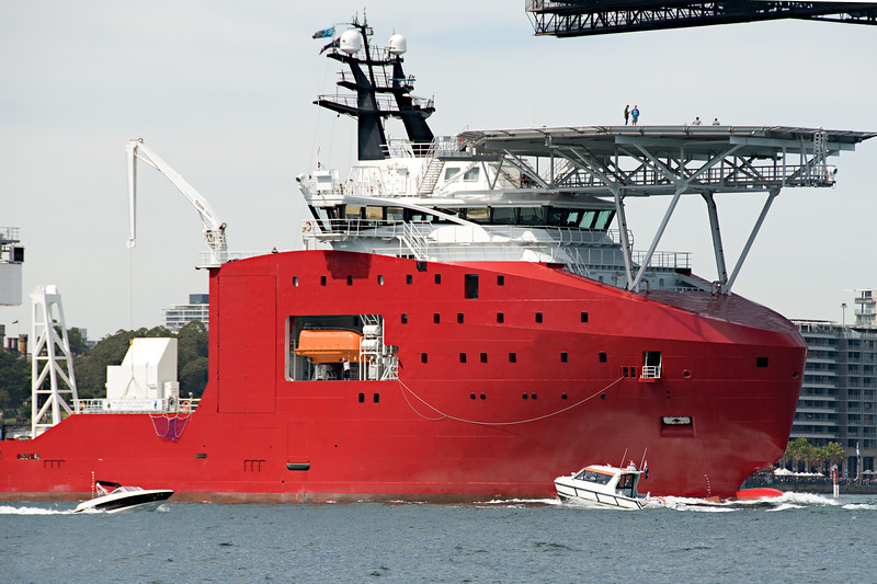 A 106 meter Transport Ship with helipad at Sydney navy centenary celebrations closeup view. Australia.