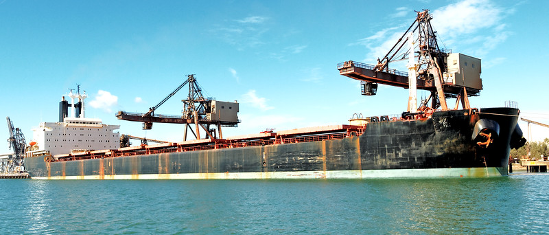 A 154 meter Bulk Carrier Ship loading at a Gladstone Harbour terminal. Queensland, Australia