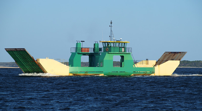 Fraser island Car Ferry Barge in transit. Inskip Point, Australia