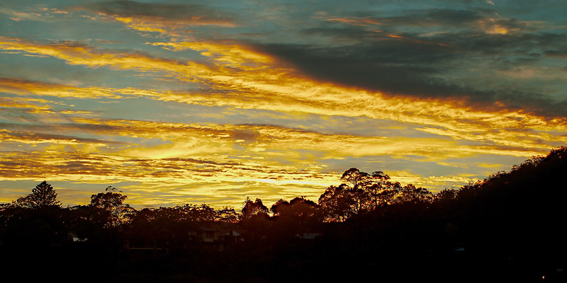 Vibrant Yellow Cloud Sunrise Landscape Australia