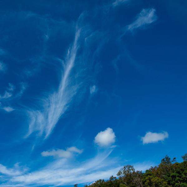 Delicate Cirrus white cloud in a blue sky. Australia.