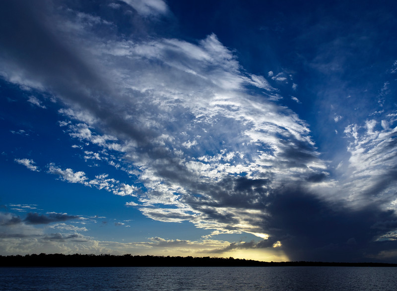 Magnificent white cloud display in blue sky. Australia.