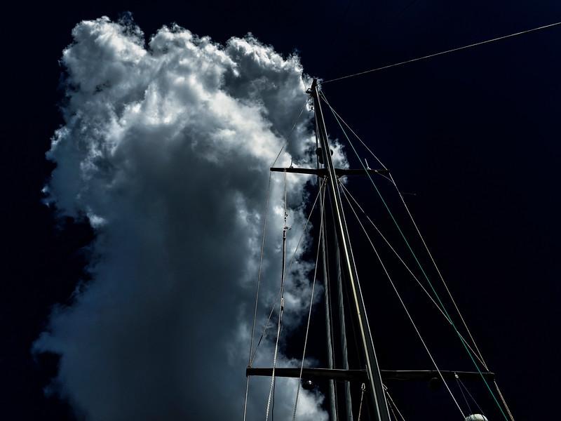 Nautical and stormy  Cumulonimbus cloud in a very dark sky. Australia.