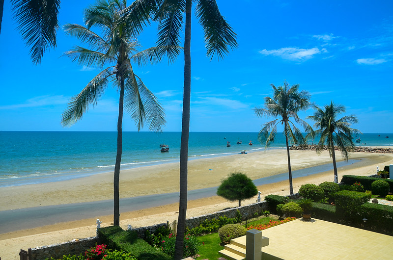 Exotic tropical vibrant coastal waterscape gardens with palm trees in a blue sky over ocean water. Thailand.
