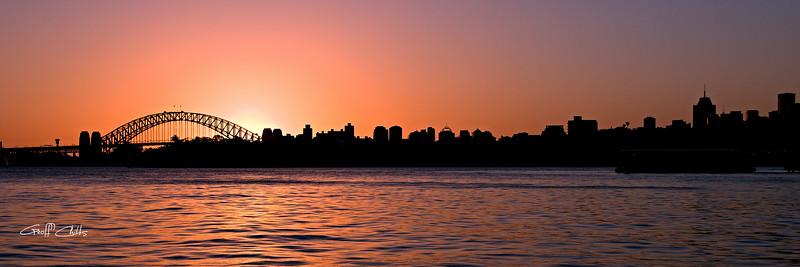 Pink Sunset Sydney Skyline.
