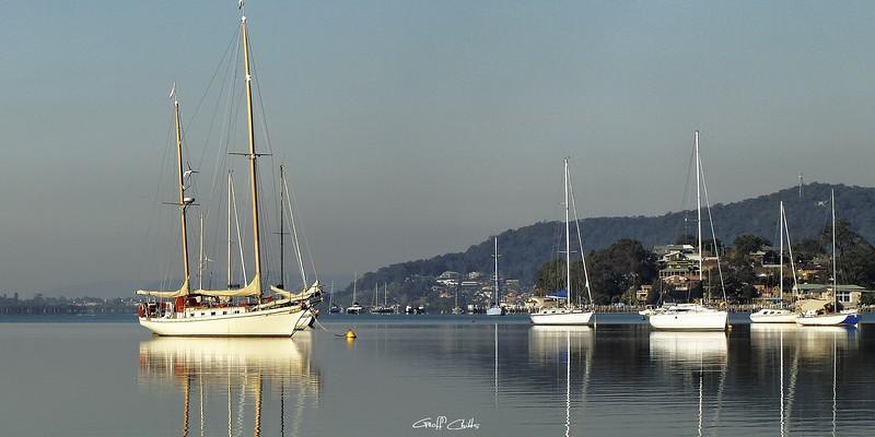 Brisbane Water Yacht  Reflections. Photo art.