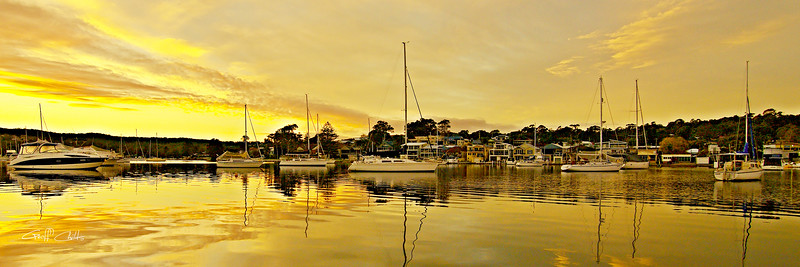 Golden Reflections Waterscape Sunrise with Boats. Art photo digital download and wallpaper screensaver. DIY Print.