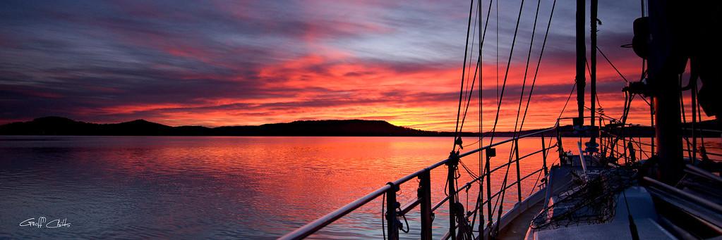 Nautical Sailboat Sunrise, Sunrise Seascape. Art photo digital download and wallpaper screensaver. DIY Print