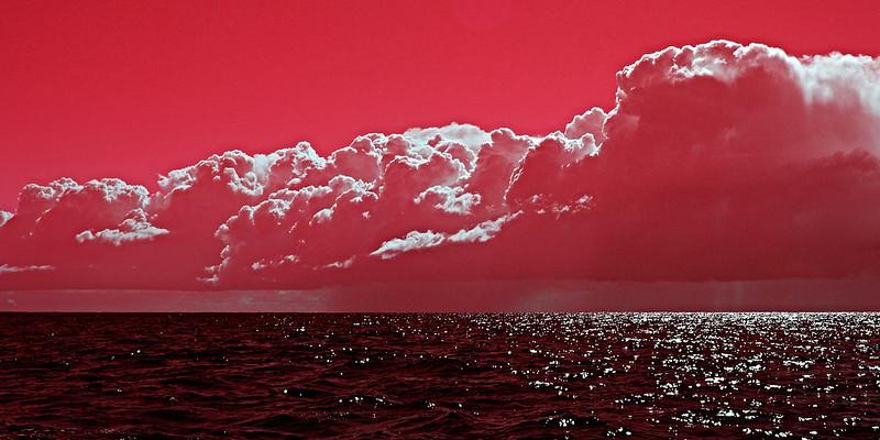 Pink Surreal Ocean Cloudscape.