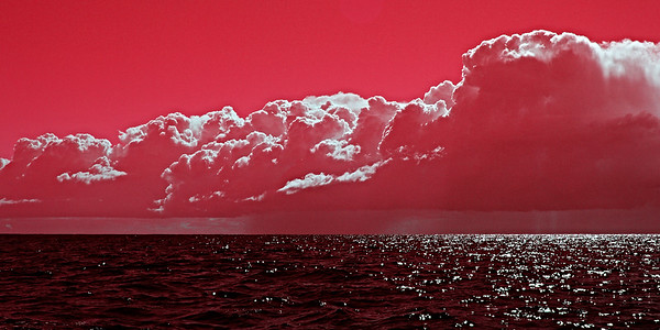 Pink Surreal Ocean Cloudscape.