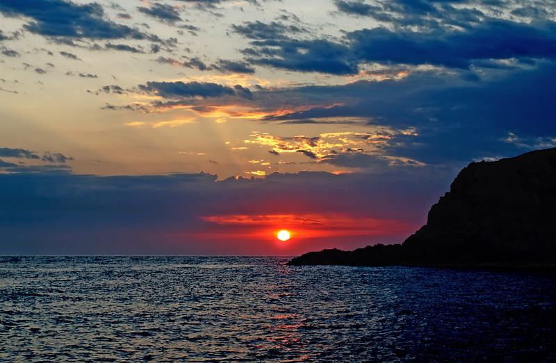 Crimson Stormy Sunrise at Sea.