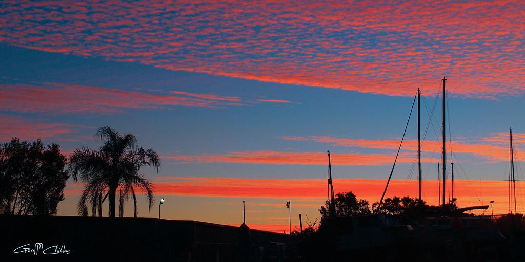 Tropical Fire Sunrise. Art photo digital download and wallpaper screensaver. DIY Print.