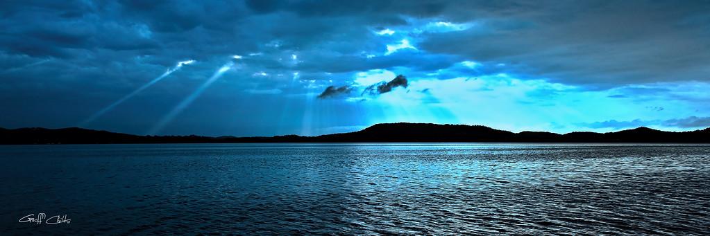 Blue Rays Sunrise, Art  photo download and wallpaper screensaver. DIY Print.