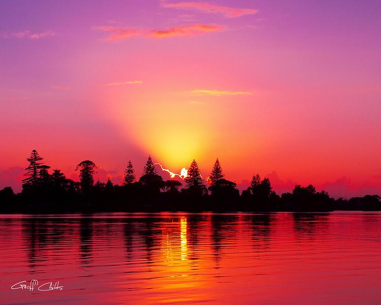 "Magenta Sunrise over Water.  Art photo digital download and wallpaper screensaver. DIY Print.(format 1/1.25) size eg. 8""x10""."