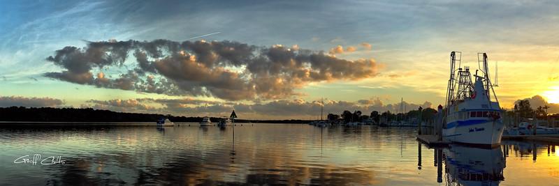 Fishing Trawler at Dawn. Art photo.