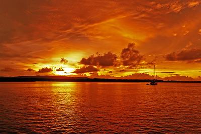 Orange cumulus Sunrise Seascape. Australia