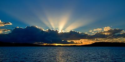 Blue Cumulonimbus cloudy Sunrise Seascape. Australia